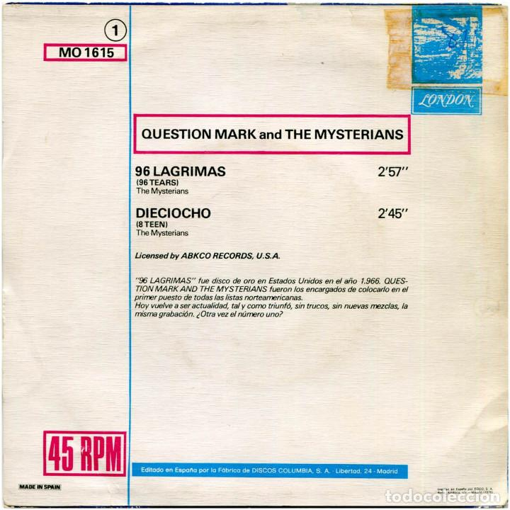 Discos de vinilo: Question Mark And The Mysterians ‎– 96 Lagrimas (96 Tears) - Sg promo Spain 1976 - London MO1615 - Foto 2 - 196815543