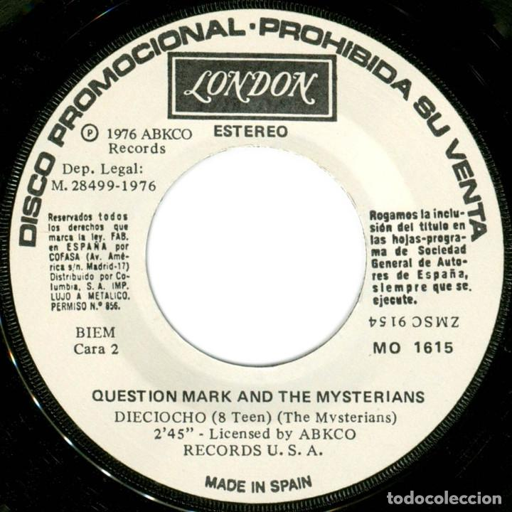 Discos de vinilo: Question Mark And The Mysterians ‎– 96 Lagrimas (96 Tears) - Sg promo Spain 1976 - London MO1615 - Foto 4 - 196815543