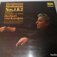 Discos de vinilo: LP DEUTSCHE GRAMMOPHON PRIVILEGE. BEETHOVEN SINFONÍA N. 1 - 2 H. VON KARAJAN. FILARMÓNICA DE BERLÍN. Lote 196876490