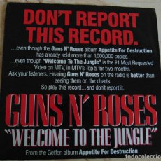 Discos de vinilo: GUNS N' ROSES – WELCOME TO THE JUNGLE - SINGLE PROMO USA 1987. Lote 196877293