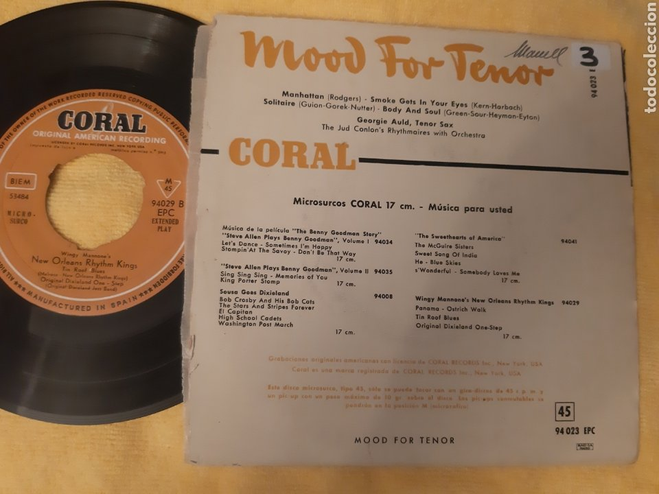 Discos de vinilo: DIFICIL. GEORGIE AULD& JUD CONLONS RHYTHMAIRES MOOD FOR TENOR. SPAIN. CORAL. - Foto 2 - 196926312