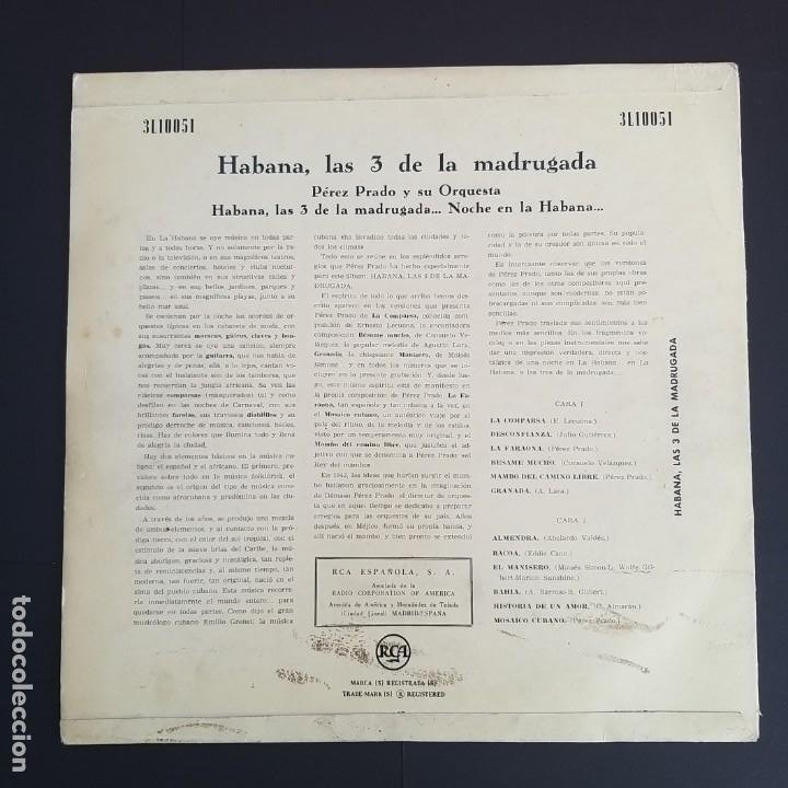 Discos de vinilo: HABANA, LAS 3 DE LA MADRUGADA. PEREZ PRADO Y SU ORQUESTA. RCA, 1958 - Foto 2 - 196931385