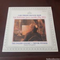Discos de vinilo: CARL PHILIPP EMANUEL BACH - LAS SINFONIAS PARA CUERDA. Lote 196967320