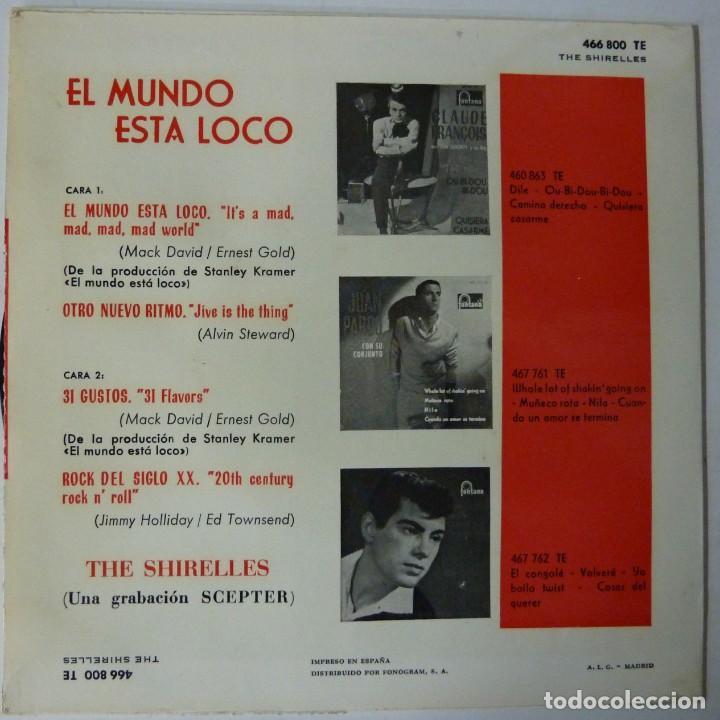 Discos de vinilo: THE SHIRELLES // EL MUNDO ESTA LOCO+3 // 1963 // EP - Foto 2 - 196975891