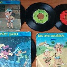 Discos de vinilo: 5 DISCOS INFANTILES(BLANCANIEVES,LOS 3 CERDITOS,PINOCHO,PETER PAN.LA PANDILLA.OFERTA POR LIQUIDACION. Lote 197071287