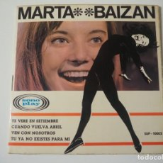Disques de vinyle: MARTA BAIZÁN EP SONOPLAY, 1966 TU YA NO EXISTES PARA MÍ + 3 CHICA YE-YÉ DISCO MINT. Lote 197126542
