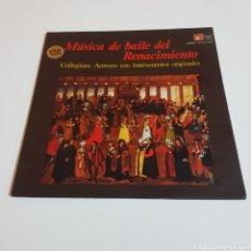 Discos de vinilo: MUSICA DE BAILE DEL RENACIMIENTO - COLLEGIUM AUREUM CON INSTRUMENTOS ORIGINALES. Lote 197321433