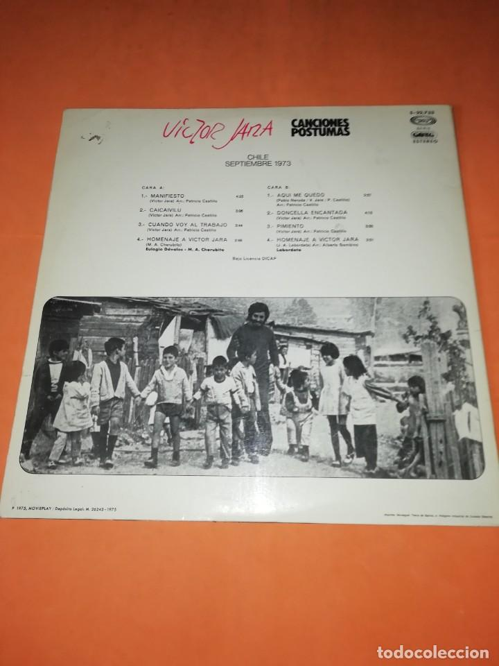 Discos de vinilo: VICTOR JARA. CANCIONES POSTUMAS. CHILE SEPTIEMBRE 1973. MOVIEPLAY 1975 - Foto 2 - 197421036