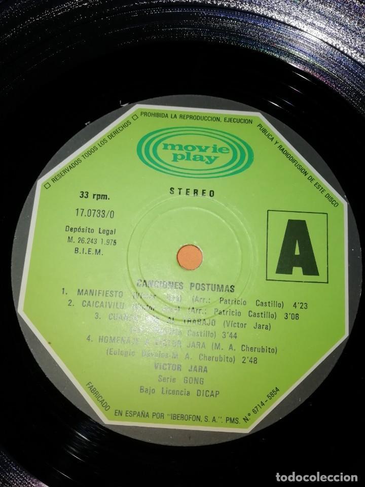 Discos de vinilo: VICTOR JARA. CANCIONES POSTUMAS. CHILE SEPTIEMBRE 1973. MOVIEPLAY 1975 - Foto 6 - 197421036