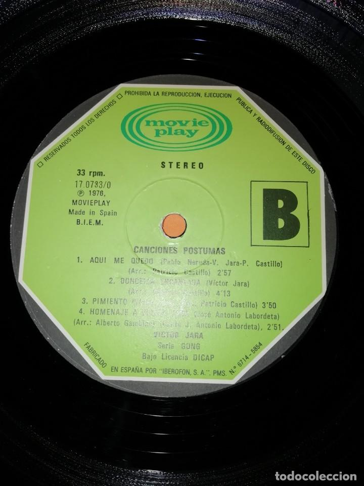 Discos de vinilo: VICTOR JARA. CANCIONES POSTUMAS. CHILE SEPTIEMBRE 1973. MOVIEPLAY 1975 - Foto 7 - 197421036