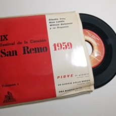 Discos de vinilo: IX FESTIVAL DE SAN REMO 1959 - VOL. 1, EP, CLAUDIO VILLA - PIOVE + 2, AÑO 1959. Lote 197438103