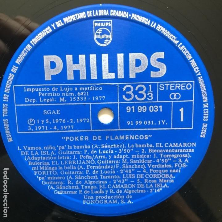 Discos de vinilo: El Camarón De La Isla Fosforito - El Lebrijano - Luis De Córdoba ?– Poker De Flamencos - Foto 5 - 197439367