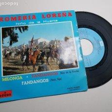 Discos de vinilo: NIÑO DE LA HUERTA EP ODEON 1963 ROMERIA LOREÑA/ VOLABA UNA MARIPOSA +2 CANTIÑA FANDANGOS MILONGA . Lote 197446442