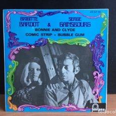 Disques de vinyle: BRIGITTE BARDOT & SERGE GAINSBOURG - BONNIE AND CLYDE (EP, MONO, RE) (FONTANA) 460 247 ME (D:NM). Lote 197447253