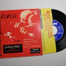 Discos de vinilo: GABRIELA ORTEGA&ANTONIO ARENAS GUITARRA GARCIA LORCA EP 1964 PHILIPS PRECIOSA Y EL AIRE +3. Lote 197455185