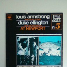 Discos de vinilo: LOUIS ARMSTRONG AND HIS ALLSTARS, DUKE ELLINGTON AND HIS ORCHESTRA ?– AT NEWPORT, 1973. NETHERLANDS. Lote 197464092