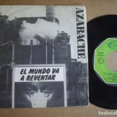 Disques de vinyle: AZABACHE SG 7'' EL MUNDO VA A REVENTAR MOVIDA RARO MOVIEPLAY 1980 VG / EX. Lote 197540413