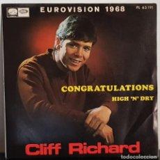 Discos de vinilo: CONGRATULATIONS - CLIFF RICHARD EUROVISION 1968. Lote 197554862