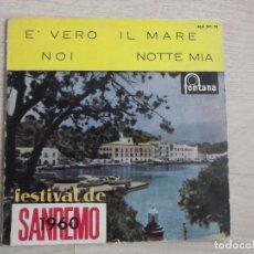 Discos de vinilo: EXITOS DEL FESTIVAL DE SAN REMO 1960, IL MARE, NOI, NOTTE MIA E VERO,BRUNO PALLESI,. Lote 197985965