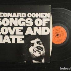 Discos de vinilo: LEONARD COHEN: SONGS OF LOVE AND HATE (U.K. L.P) 1971 CBS 69004. Lote 197993143
