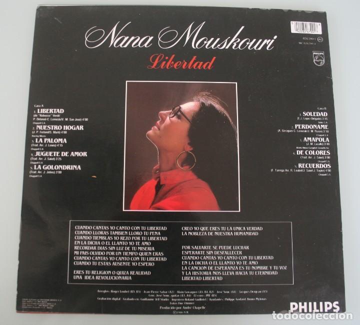 Discos de vinilo: DISCO VINILO LP ALBUM NANA MOUSKOURI EN ESPAÑOL LIBERTAD VER TITULOS DE LOS TEMAS EN FOTOGRAFIAS - Foto 2 - 198014770