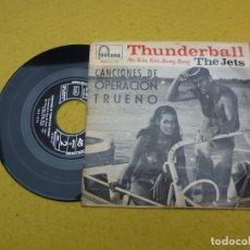 Discos de vinilo: SINGLE - THE JETS – THUNDERBALL - MARY POPPINS - 007 - SPAIN - 1966 EX-/VG+. Lote 198143735