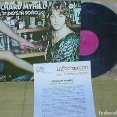 Discos de vinilo: RICHARD MYHILL SPAIN LP 21 DAYS IN SOHO 1976 ZAFIRO PROMO+ INSERT ORIGINAL MUY BUEN ESTADO !!. Lote 198189271
