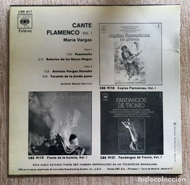 Discos de vinilo: MARÍA VARGAS - CANTE FLAMENCO - Foto 2 - 198191673