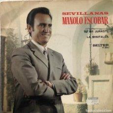 Discos de vinilo: MANOLO ESCOBAR , SINGLE 45 RPM SEVILLANAS. Lote 198232530