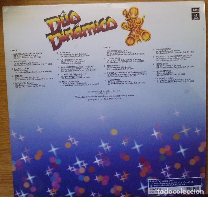 Discos de vinilo: LP DEL DÚO DINÁMICO 20 ÉXITOS DE ORO, CANCIONES ORIGINALES NUEVO TODAVÍA CON EL PLÁSTICO DE SELLADO - Foto 2 - 231315500