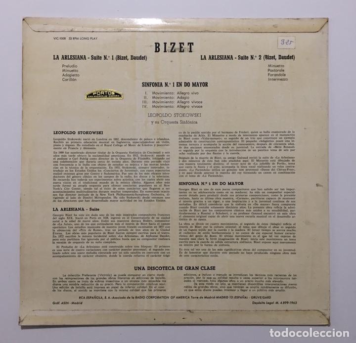 Discos de vinilo: BIZET - L'ARLESIANA - SUITES N. 1 Y 2 - SINFONÍA EN DO MAYOR - LOEPOLDO STOKOWSKI Y SU ORQUESTA SINF - Foto 2 - 198344382