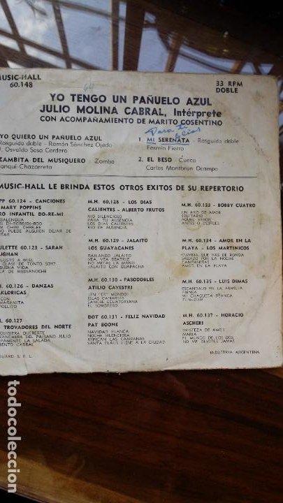 Discos de vinilo: julio molina cabral, yo quiero un pañuelo azul...industria argentina - Foto 3 - 198361540