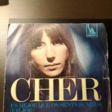 Discos de vinilo: LOTE DOS DISCOS VINILO SINGLES CHER TOM JONES. Lote 198362495
