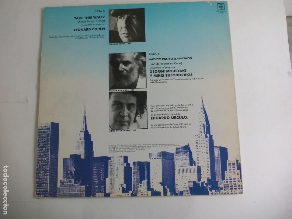 Discos de vinilo: POETAS EN NUEVA YORK. LEONARD COHEN TAKE THIS WALTZ. GEORGE MOUSTAKI MIKIS THODORAKIS. 1986 CBS MAXI - Foto 2 - 198381986