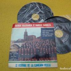 Discos de vinilo: 2X SINGLE ORFEON SAN ANTON DE BILBAO - II FESTIVAL DE LA CANCION VASCA - CARPETA DE ABRIR. Lote 198401107