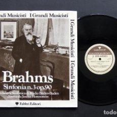 Discos de vinilo: BRAHMS – ORCHESTRA SINFONICA DI RADIO BADEN-BADEN / JASCHA HORENSTEIN – SINFONIA N. 3 OP. 90. Lote 198454010