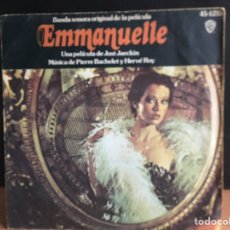 Discos de vinilo: EMMANUELLE - BANDA SONORA ORIGINAL (SINGLE) (WARNER BROS. RECORDS) 45-1215 (D:VG+). Lote 198466096
