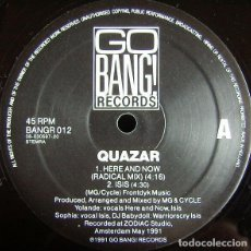 Discos de vinilo: QUAZAR _– HERE & NOW (REMIX) / MIDSUMMERNIGHT'S DREAM. Lote 198512813