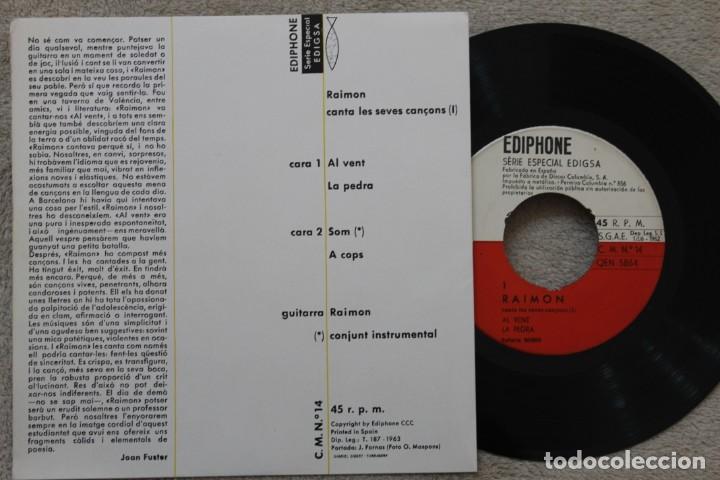 Discos de vinilo: RAIMON AL VENT EP VINYL MADE IN SPAIN 1963 - Foto 2 - 198524486