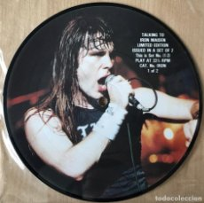 Discos de vinilo: IRON MAIDEN ?– TALKING TO IRON MAIDE, PIC DISC LIMITED EDITION UK 1985 TALKIES. Lote 198610881