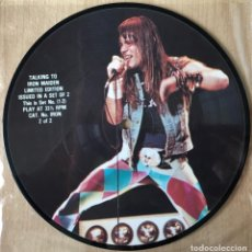 Discos de vinilo: IRON MAIDEN ?– TALKING TO IRON MAIDEN, PIC DISC LIMITED EDITION UK 1985 TALKIES. Lote 198610988