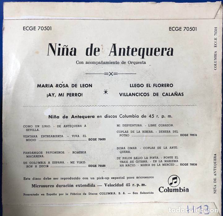 Discos de vinilo: niña de antequera ep 45 rpm - Foto 2 - 198716707