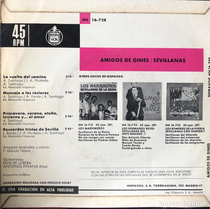 Discos de vinilo: amigos de ginés, ep a 45 rpm, sevillanas - Foto 2 - 198717097
