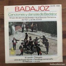 Discos de vinilo: BADAJOZ - CANCIONES Y DANZAS - GRUPO DE LA SECCIÓN FEMENINA DE F.E.T. Y DE LAS J.O.N.S. - EP 1963. Lote 198726691