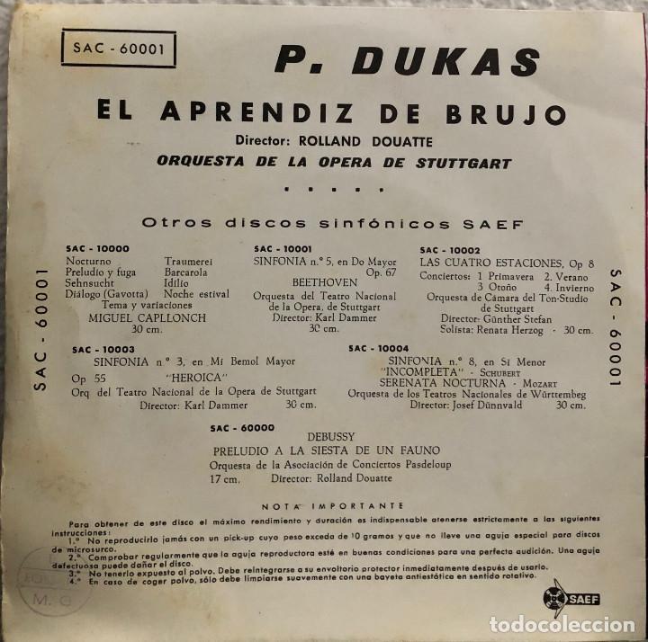 Discos de vinilo: ORQUESTA DE LA OPERA DE STUTTGART - P. DUKAS - El aprendiz de Brujo - Foto 2 - 198758011