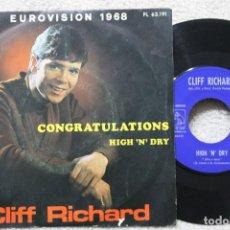 Discos de vinilo: CLIFF RICHARD CONGRATULATIONS EUROVISION 1968 SINGLE VINYL MADE IN SPAIN 1968. Lote 198821180