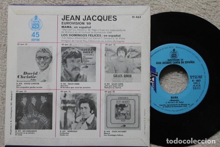 Discos de vinilo: JEAN JACQUES MAMA EUROVISION 1969 SINGLE VINYL MADE IN SPAIN 1969 - Foto 2 - 198822061