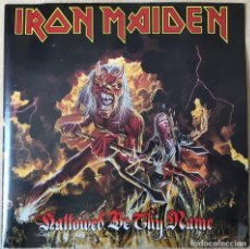 Discos de vinilo: IRON MAIDEN – HALLOWED BE THY NAME (LIVE), ROJO - FUNDA POSTER, UK 1993 EMI. Lote 198902485