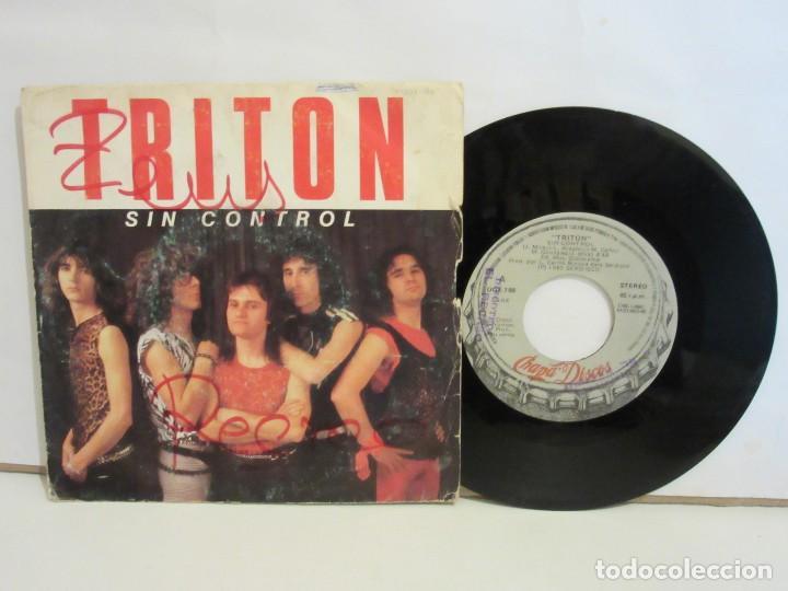 TRITON - SIN CONTROL / SANGRE Y SUDOR - SINGLE - PROMO - 1985 - SPAIN - VG/G (Música - Discos - Singles Vinilo - Heavy - Metal)
