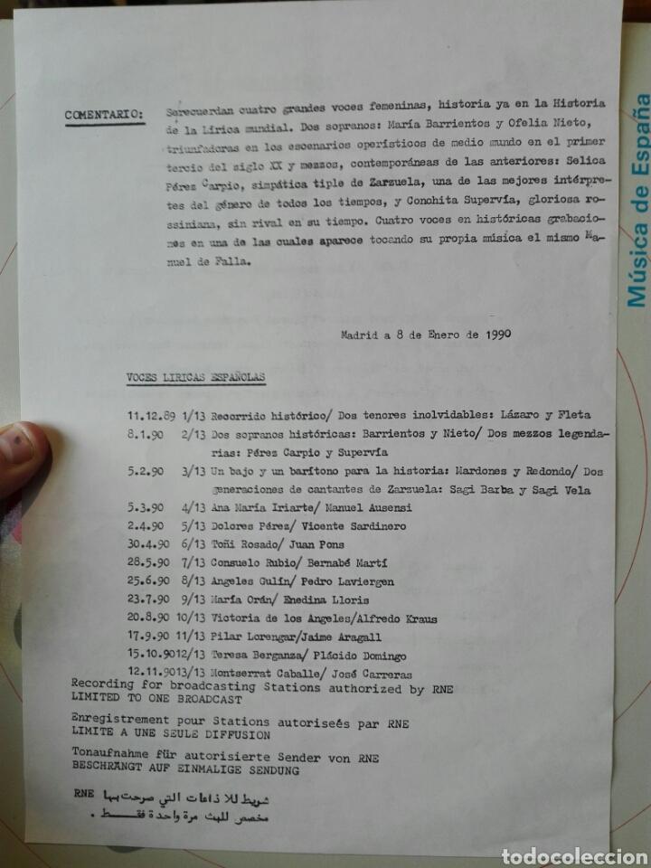 Discos de vinilo: Voces líricas españolas. 13 lp.LP TRANSCRIPCIONES DE RNE CON MÚSICA DE ESPAÑA. 1990. Ópera. Zarzuela - Foto 6 - 198944067